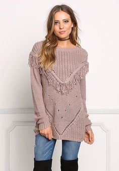 Mauve Knit Fringe Sweater Top