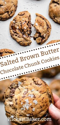 Visit the blog to get the recipe and instruction on how to create a batch of these Elevated Salted Brown Butter Chocolate Chunk Cookies! With browned butter, plenty of chopped dark chocolate creating pools of melty goodness and sprinkled with flaky salt, these Salted Brown Butter Chocolate Chunk Cookies reinvent the classic chocolate chip cookie with elevated flavors. Salted Chocolate Chip Cookies, Salted Caramel Brownies, Chocolate Sweets, Chocolate Chip Recipes, Homemade Desserts, Easy Desserts, Dessert Recipes, No Bake Sugar Cookies, Yummy Cookies