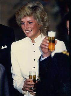 Diana sampling German beer 1987