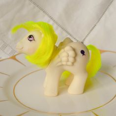Vintage My Little Pony 'Baby Surprise'  Glitter Symbol White Neon Yellow Pegasus Pink Eyes - G1 - 1984 - Rare - MLP - Balloon by TeaJay,Vintage  Toy  Animal  MLP  my little pony  baby  1984  teajay  G1  White  UK  Surprise  Miss Print  Factory Error Neon  Yellow
