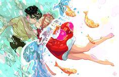 Ponyo Eskimo Kisses by applejamwastaken on DeviantArt Studio Ghibli Art, Studio Ghibli Movies, Eskimo Kiss, Japanese Animated Movies, Howls Moving Castle, Hayao Miyazaki, Totoro, Art Studios, Cute Art