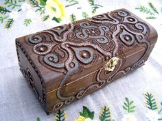 Jewelry box Wooden box Carved wood box Ring box by HappyFlying, $60.00