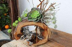 TD60 – Die etwas andere Tischdeko! Kirschbaumscheibe (thermisch behandelt und lackiert), dekoriert mit künstlichen Sukkulenten, natürlichen Materialien und einem Froschkönig! Preis 39,90€
