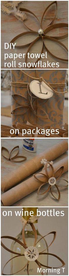 DIY~ paper towel roll snowflakes