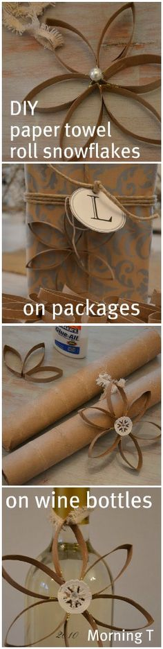 paper towel roll snowflakes