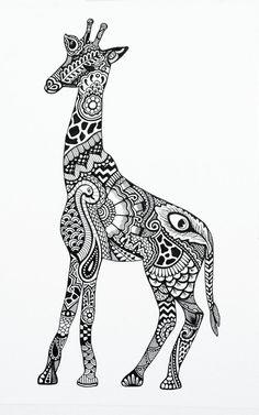 Giraffe Henna Items similar to henna giraffe