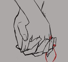 «Un hilo rojo invisible ... Hand Reference, Pose Reference, Drawing Reference, Red String Of Fate, Cute Couple Art, Couple Drawings, Hand Art, Character Aesthetic, Drawing Tips