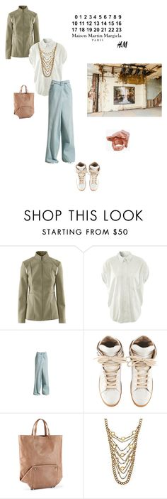 """Maison Martin Margiela with H&M"" by bocwana ❤ liked on Polyvore featuring H&M, Maison Margiela, MANGO, chain necklaces, boyfriend jeans, boyfriend shirts, knuckle rings, army jackets, tote and mansion martin margiela"