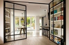 kamer ensuite modern at DuckDuckGo Style At Home, Steel Doors And Windows, Metal Windows, Glass Room Divider, Room Dividers, Home Fashion, Home And Living, Living Room, Interior Architecture