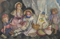 Góth C.  | Poppen, olieverf op doek 60,4 x 91,5 cm, gesigneerd l.o. en gedateerd 1948