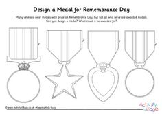Medals are worn with pride on Remembrance Day. What sort of medal would the kids design, and what would they award it for? This printable provides four traditional medal designs to get them started. Remembrance Day Posters, Remembrance Day Activities, Veterans Day Activities, Remembrance Day Poppy, Sunday Activities, Toddler Activities, Science Activities, Memorial Day Coloring Pages, Poppy Craft For Kids