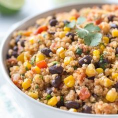 Mexican Quinoa Recipe (Dairy Free, Vegan) - Simply Whisked This Mexican quinoa recipe is made with corn, black beans and diced tomatoes with chilies. It's a great side dish or an healthy, vegan dinner idea. Quinoa Recipes Easy, Yummy Recipes, Vegetarian Recipes, Healthy Recipes, Recipes With Corn, Quinoa Dinner Recipes, Chicken Quinoa Recipes, Quinoa Meals, Black Bean Recipes
