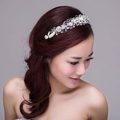 Bride Wedding Dress Accessories Jewelry Korean Contracted Small Pure And Fresh Crystal Hair Hoop Tire – USD $ 29.99