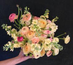 Sorbet anyone?  Yellow stock garden roses pink ranunculus
