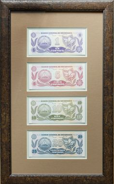 Nicaragua set of Framed Banknotes showcasing the reverse flower images