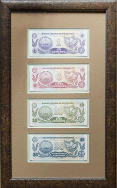 Nicaragua set of Framed Banknotes showcasing the reverse flower images