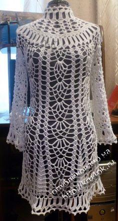 фото вязаного крючком платья Crochet Coat, Crochet Tunic, Crochet Clothes, Crochet Lace, Coat Patterns, Dress Patterns, Crochet Patterns, Tunic Pattern, Knitting