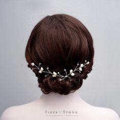 Silver Bridal Hair Vine Bridal Headpiece Crystal and by FiberStone