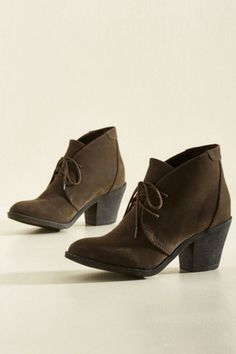 Jump right into a day of wandering with these One Thing Leaps to Another Booties from Blowfish. The brown faux-suede upper and block heels are perfect for grabbing a cappuccino and skipping down to the library for a day spent in intellectual indulgence.