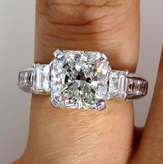 5.15CT VINTAGE ESTATE SQUARE RADIANT DIAMOND ENGAGEMENT WEDDING RING EGL USA PLA #SolitairewithAccents