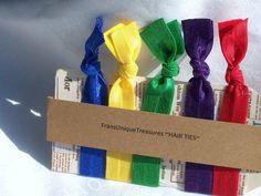 5 Elastic Hair Ties Ponytail holders of by FransUniqueTreasures, $5.00