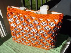 Orange PullTab Crochet Totes  Large and Small by PopTopLady,