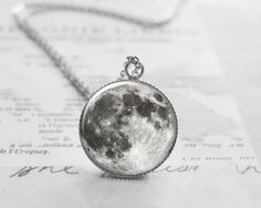 Medium Necklaces – Moon Necklace, Full Moon Pendant, N005 – a unique product by petiteVanilla on DaWanda