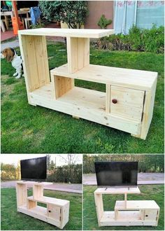 Give a look at this excellent creation of the media table TV stand furniture design where the superb use of the wood pallet is the main attraction of the whole creation project. This furniture design is added with the shelving variations that looks so cla Pallet Furniture Tv Stand, Pallet Tv Stands, Pallet Furniture Designs, Furniture Projects, Wood Furniture, Furniture Making, Woodworking Projects Diy, Diy Wood Projects, Woodworking Plans