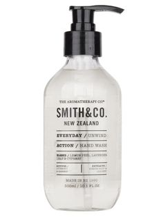 The Aromatherapy Company's Smith & Co. Unwind Hand Wash Elixir. Their body care products are free from parabens, fragrance, sodium laurel sulphates and mineral oils.