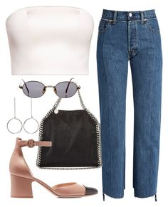 A fashion look from October 2017 featuring white bandeau top, cutout jeans and heel pump. Browse and shop related looks. Teen Fashion Outfits, Chic Outfits, Summer Outfits, Womens Fashion, Capsule Outfits, Grown Women, 2 Piece Outfits, Polyvore Outfits, Everyday Outfits