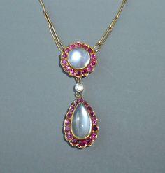 Art Deco Era 18k 750 Gold Cabochon Moonstone, Ruby, & Diamond Necklace