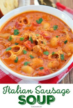 Italian Sausage Soup - ready in 30 minutes! Everything cooks in the same pot, including the pasta. Italian sausage, chicken broth, spaghetti sauce, cream cheese, pasta, oregano and basil. SO good! We ate this two days in a row. Serve with some crusty garlic bread for a complete meal!!