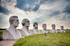 Row of presidential sculptures by David Adickes, Pearland, Texas