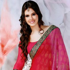 Shaded Red and Pink Faux Georgette Saree With Blouse