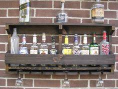 Rustic Hanging Liquor Rack Maybe Add A Top Shelf For Few Rock Gles