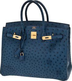 Hermès - Ostrich Birkin - Sapphire Blue - 35cm - www.liveauctionee... hermes handbags, fashion handbags, #bags#