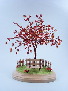 Maple Blossom Wire Sculpture Tree- Home Decoration / Desktop Business Holder…