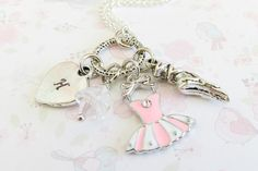 Ballet initial necklace, pink childrens necklace, ballet jewelry gift for granddaughter, little girl gift, ballerina necklace