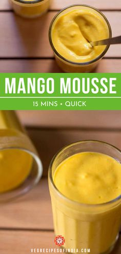 Need a quick dessert for some unexpected guests? Try making this easy mango mousse recipe. This healthy Indian recipe uses no eggs and is made without gelatin. This is an easy vegetarian recipe that everyone will love! Easy Indian Dessert Recipes, Mango Dessert Recipes, Mango Recipes, Indian Desserts, Vegetarian Recipes Easy, Milk Recipes, Indian Food Recipes, Indian Sweets, Veg Recipes