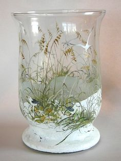vase mouette  | Maine Seagull Cottage l hand painted glass dune scenes l Maine