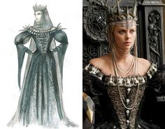 Geometric shapes, spikes and symbols of death, such as skulls and small bones, were heavily featured in the evil Queen Ravenna's (Charlize Theron) wardrobe. One of the character's most elaborate costumes was a feathered, raven cloak that Atwood worked on with the help of a milliner in London. She said all the feathers were hand-trimmed to reflect the likeness of a real bird.