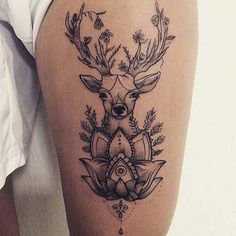 Badass Thigh Tattoo Ideas for Women Mandala Deer and Lotus ., 45 Badass Thigh Tattoo Ideas for Women Mandala Deer and Lotus ., 45 Badass Thigh Tattoo Ideas for Women Mandala Deer and Lotus ., Значение тату олень для мужчин и девушек: 60 фото Great Tattoos, Trendy Tattoos, Sexy Tattoos, Body Art Tattoos, Girl Tattoos, Sleeve Tattoos, Thigh Tattoos For Girls, Deer Tattoo Girls, Thigh Tattoos For Women