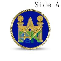 2016 Newest Design ,DHL Free shipping 100 pcs /lot   Masonic Freemasonry coins,  40*3mm gold plated coins,replica coins