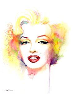 Marilyn Monroe Watercolor Painting Print  Yellow by sookimstudio, $22.00