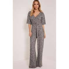 11ba5def11d Yolanda Grey Tie Waist Wide Leg Jumpsuit-6 ( 29) ❤ liked on Polyvore  featuring jumpsuits