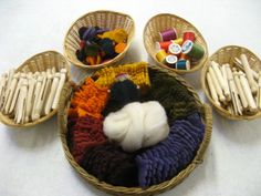 Supplies to make clothes pin felt leaf people with upcycled wool blankets