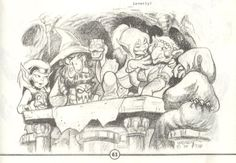 An unexpected party. Skywise, Picknose, Cutter, Oddbit and Old Maggoty from Elfquest. Art by Wendy Pini.