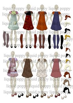 Paper Dolls Digital Collage Sheets x3   Modern by liquidpoppy,