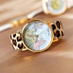 Leopard Print World Map Watch