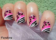 Pandora nails: Zebra & leopard Zebra Nail Designs, Zebra Nail Art, Animal Nail Art, Creative Nail Designs, Creative Nails, Wow Nails, Crazy Nails, Cute Nails, Sassy Nails